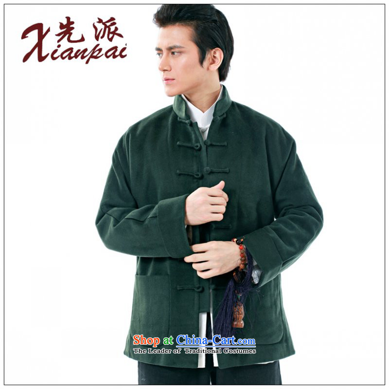 To send the new spring and autumn Tang dynasty China wind stylish long-sleeved male cashmere overcoat traditional Chinese New cuff even national dress ball-collar Leisure Services loose XL dark green cashmere overcoat 3XL  new products under the concept o
