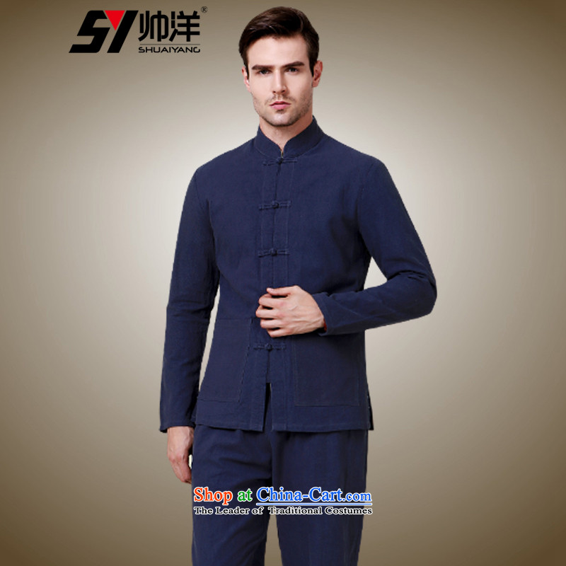 The new 2015 Yang Shuai men fall of cotton linen Tang Dynasty Package Chinese long-sleeved trousers and Sau San Tong jackets China wind national costumes and Chinese tunic Han-Tibetan Cyan (long-sleeved long pants) 41/175
