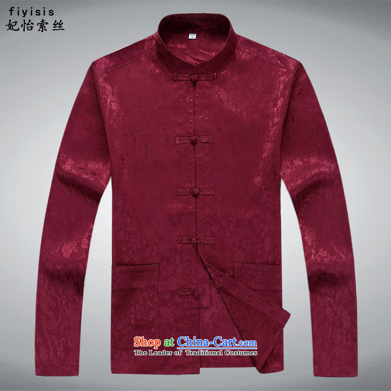 In Spring and Autumn Princess Selina CHOW of the Tang Dynasty Men's Mock-Neck ROM version loose tie china wind in Tang Dynasty older men's long-sleeve sweater in Tang Dynasty Package dragons spend the chestnut horses shirt?S