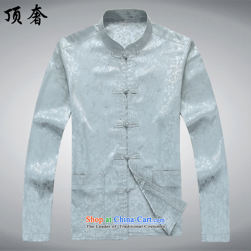 Top Luxury Men long-sleeved Tang Dynasty Package autumn, mock China wind over the life jackets Tang dynasty jogging in Tang Dynasty older Men's Mock-Neck kit shirt and gray T-shirt聽170_M