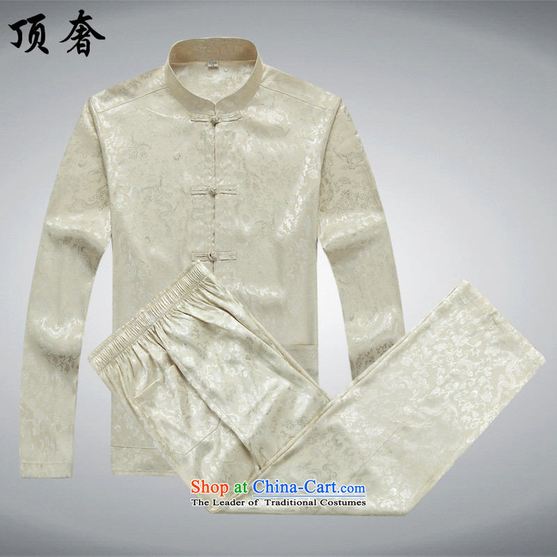 Top Luxury Men long-sleeved Tang Dynasty Package autumn, mock China wind over the life jackets Tang dynasty jogging in Tang Dynasty older Men's Mock-Neck kit shirt beige聽185_XXL Kit