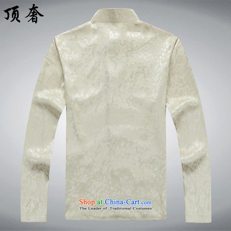 Top Luxury Men long-sleeved Tang Dynasty Package autumn, mock China wind over the life jackets Tang dynasty jogging in Tang Dynasty older Men's Mock-Neck kit shirt beige聽185/XXL, kit top luxury shopping on the Internet has been pressed.