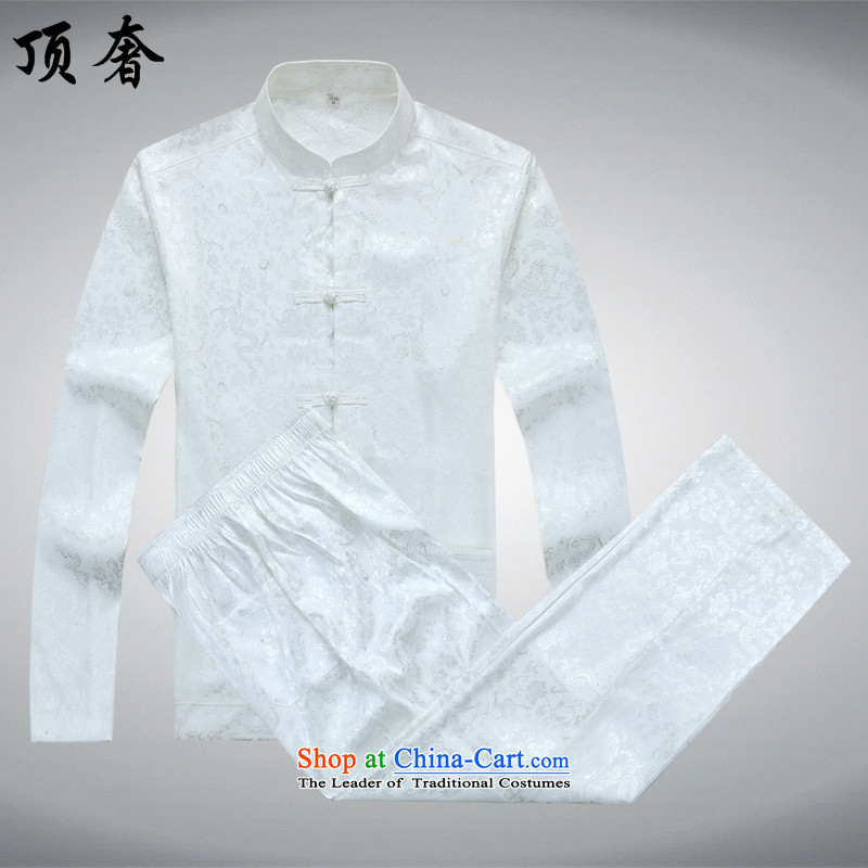 Top Luxury Men long-sleeved Tang Dynasty Package autumn, mock China wind over the life jackets Tang dynasty jogging in Tang Dynasty older Men's Mock-Neck kit shirt white 165_S Kit