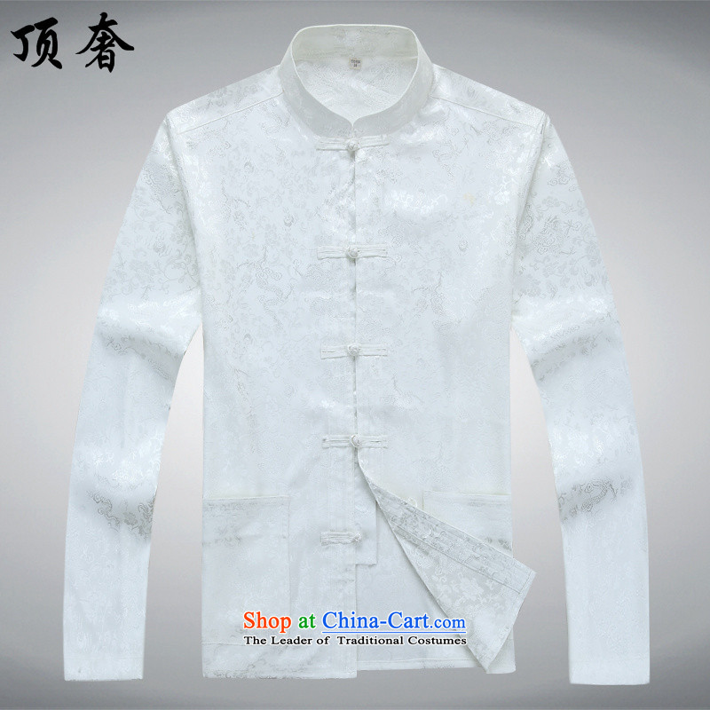 Top Luxury Men long-sleeved Tang Dynasty Package autumn, mock China wind over the life jackets Tang dynasty jogging in Tang Dynasty older Men's Mock-Neck kit shirt White Kit聽165/S, top luxury shopping on the Internet has been pressed.