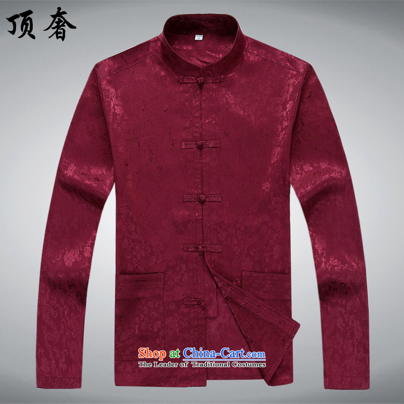 Top Luxury Men long-sleeved shirt of older persons in the Tang dynasty and the summer spring and fall silk Chinese national costumes shirt collar XL Han-soo dress bourdeaux too?170/M T-Shirt