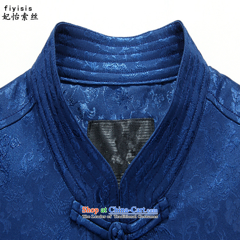 Princess Selina Chow (Autumn) Elderly fiyisis men Tang Dynasty Package long-sleeved Chinese elderly couples Tang dynasty golden marriage Han-8802, blue jacket coat聽XL/180, Princess Selina Chow (fiyisis) , , , shopping on the Internet