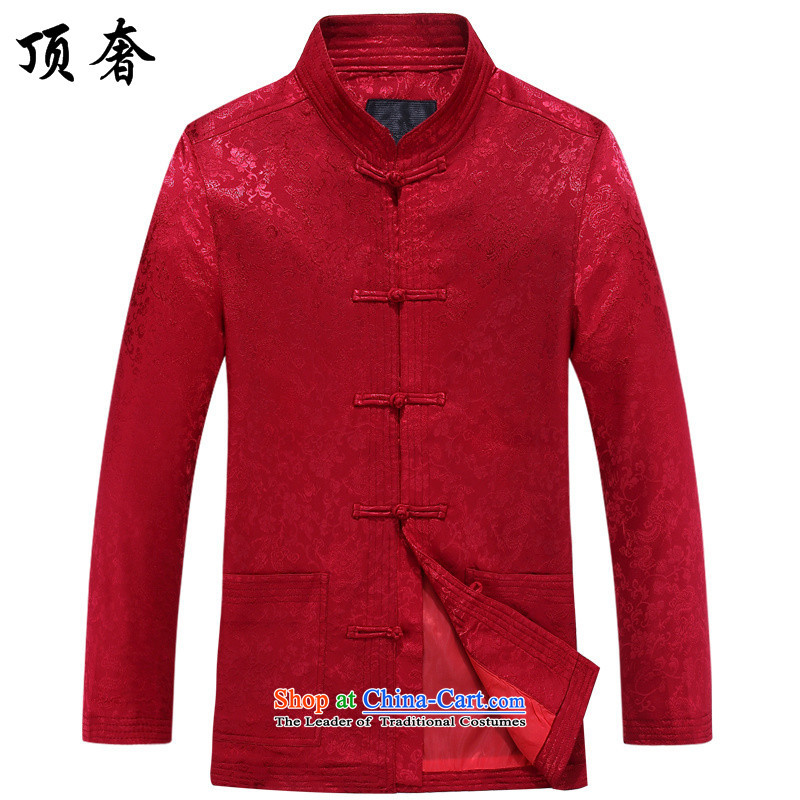 Top Luxury men fall of Tang Dynasty long-sleeved shirt China wind red too life jackets jogs Tang dynasty in Tang Dynasty older men of Han-neck shirt red jacket�185/XXL Tang