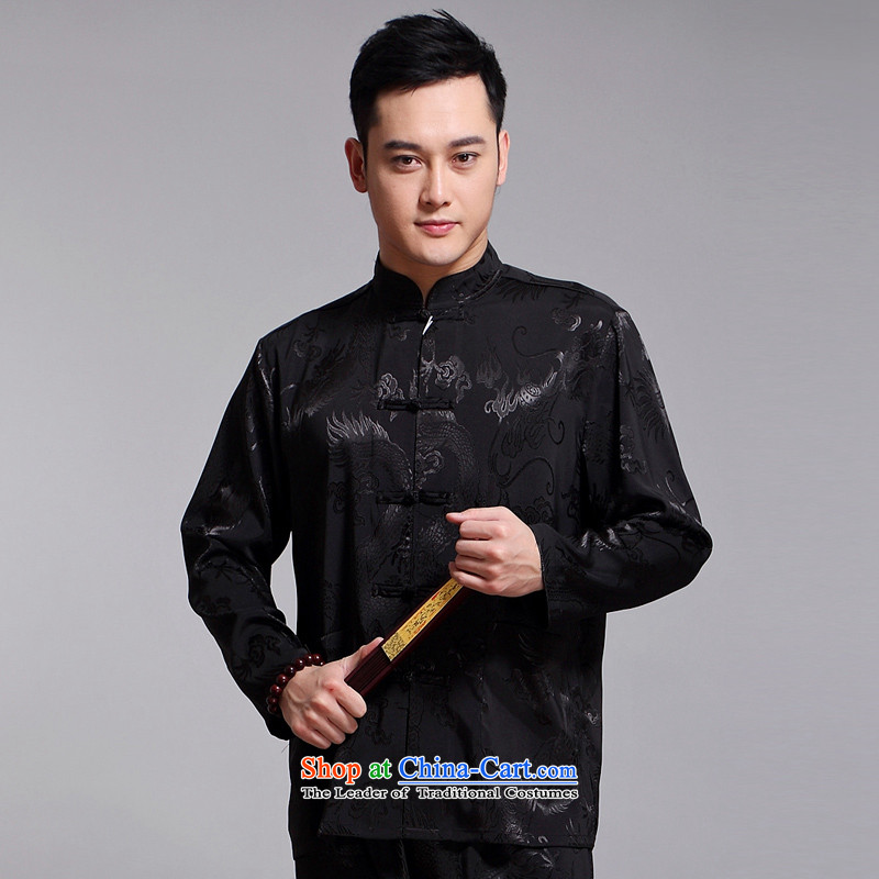 Tang Dynasty Men long-sleeved kit autumn and winter new products men cotton linen collar Chinese tunic of older Tang Dynasty Package Boxed 1519 Black father 185XXXL Kit