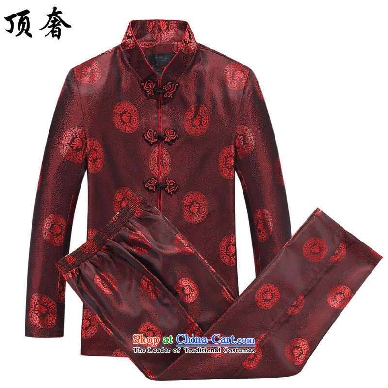 Top Luxury couples long-sleeved Tang dynasty autumn between men and women, mock China wind over the life jackets Tang dynasty jogging in the Han-service older men wearing men of 8806 kit plus Yi�170/M pants men