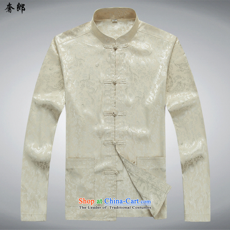 The luxury health new spring and autumn, Tang dynasty in older Boys Girls, Tang dynasty long-sleeved birthday father blouses kit shirt, beige sweater pants 2562f plus燬_165