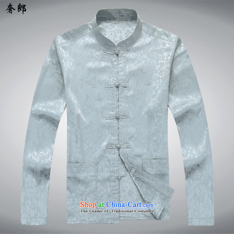 The extravagance in health of older men Tang dynasty long-sleeved shirt with older persons older persons summer shirt grandfather installed China wind father blouses improvement package collar disc detained XL/180 gray T-Shirt