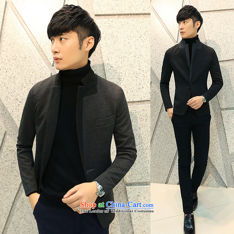 Dan Jie Shi _DANJIESHI_2015 trendy men Chinese tunic suit collar small male version has a small leisure suit coats of black?L