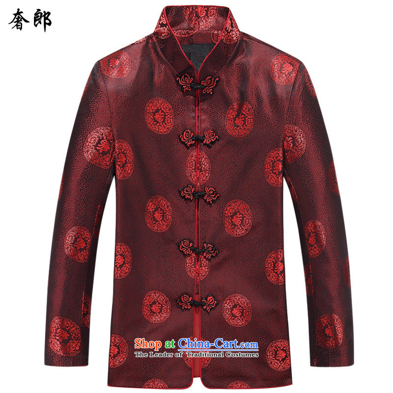 The extravagance in spring and autumn replacing men who Tang jacket in older Mock-Neck Shirt Birthday Feast National Chinese jacket with XL improved couples Mock-Neck燬hirt men�5 8803 only women
