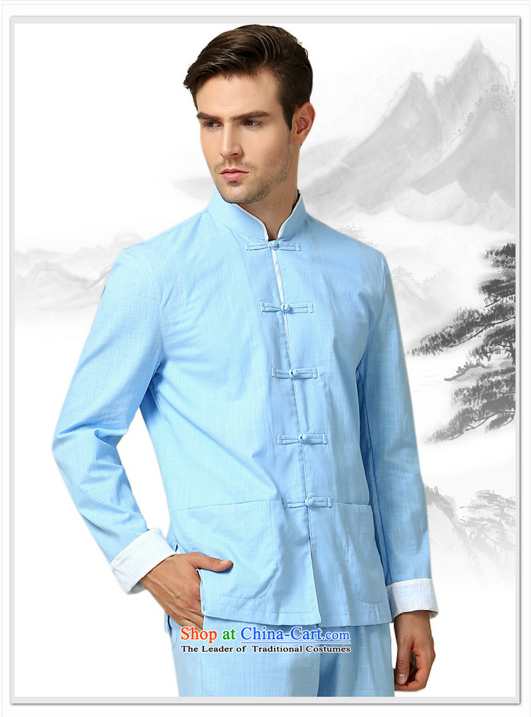 The Ocean 2015 Autumn Load Shuai New Men Tang dynasty cotton Sau San spell long-sleeved jacket kit Chinese clothing trousers China wind in men's navy blue long-sleeved (long pants) 180/XL picture, prices, brand platters! The elections are supplied in the national character of distribution, so action, buy now enjoy more preferential! As soon as possible.