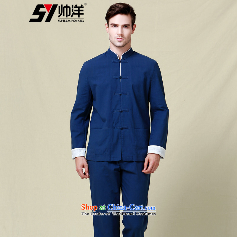 The Ocean 2015 Autumn Load Shuai New Men Tang dynasty cotton Sau San spell long-sleeved jacket kit Chinese clothing trousers China wind in men's navy blue long-sleeved (long pants 180/XL)