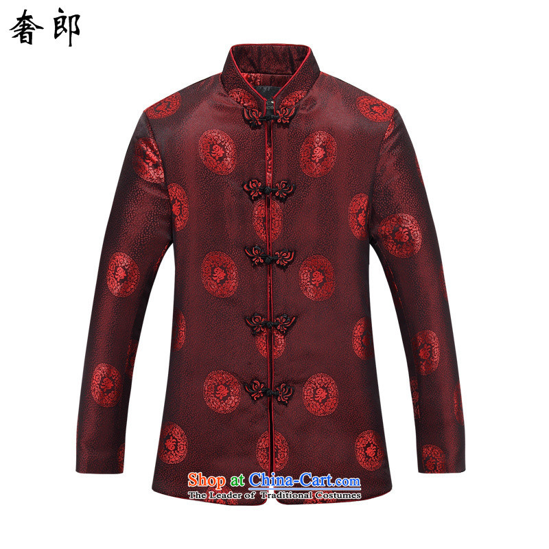 The luxury health new improved men fall and winter long-sleeved jacket Tang Mock-neck Han-Chinese tunic, elderly men costume clothing couples Tang dynasty -88030 female clothes�180 US$ 880.6