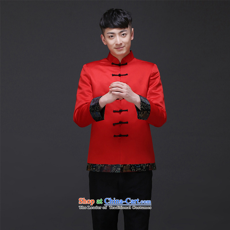 The Royal Advisory Groups to show love men new Chinese style wedding married men and Tang dynasty red Sau Wo serving Chinese tunic national costumes of the bridegroom bows Dress?Shirt Male 188?L