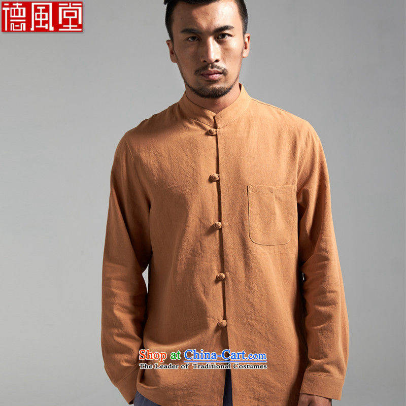 De Fudo magnificently cotton linen men Tang dynasty China wind collar long-sleeved Tang dynasty?2015 new products during the Spring and Autumn Chinese clothing card its?4XL_185