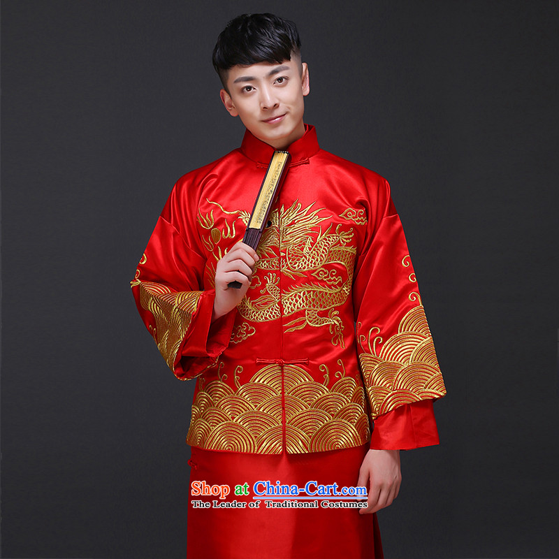 The Royal Advisory Groups to show love men Chinese wedding costume Sau Wo Service service men's wedding dress red groom service Tang Dynasty style robes?498 male kit?M