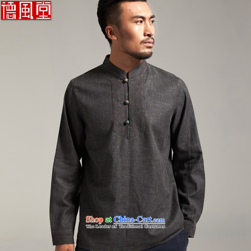 De Fudo Sheung Ning?100_ linen men Tang dynasty China wind youth Stylish? spring and autumn 2015 Sau San T-shirt, dark gray?2XL_175 New