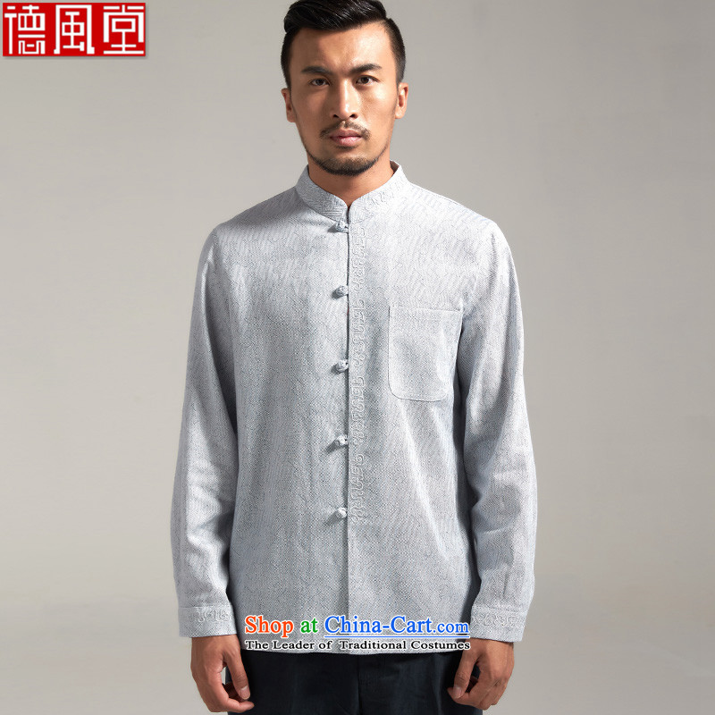 The Wind Tangqiu Woo?100% Tang dynasty men linen china wind long-sleeved? spring and autumn 2015 new products Chinese clothing?L/165 Light Blue