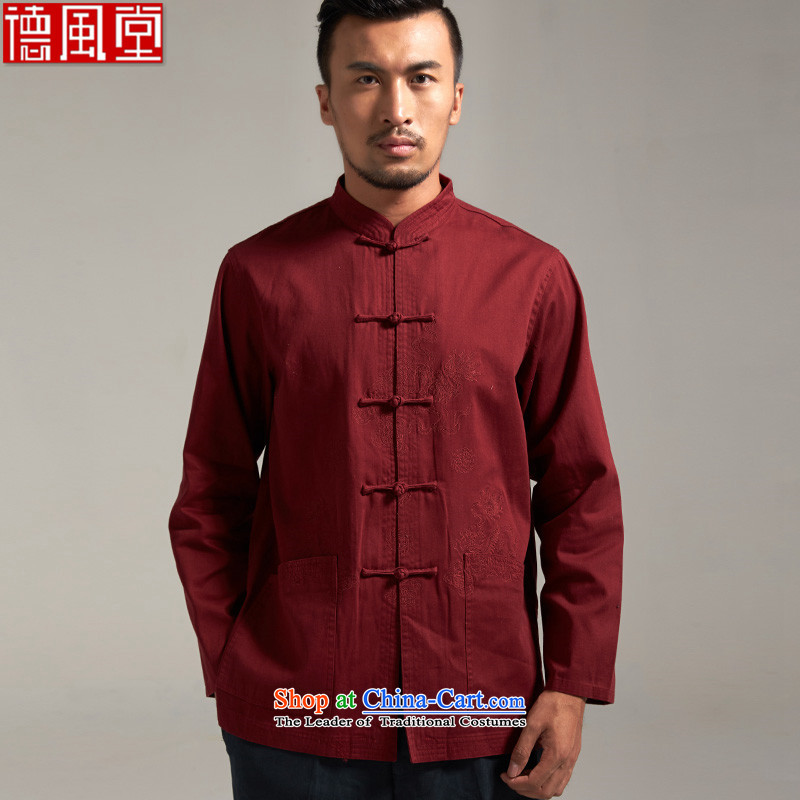 The Wind tangqiu the?100_ Cotton Men Tang dynasty China wind long-sleeved?autumn 2015 new products Chinese clothing?XL_170 dark red