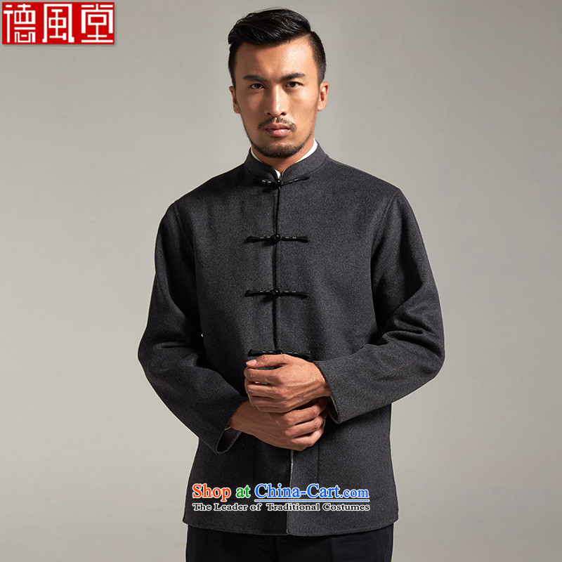 Fudo So Abraham, wool men Tang dynasty China wind jacket,?2015 Autumn thick new Chinese clothing?3XL/180 Dark Gray