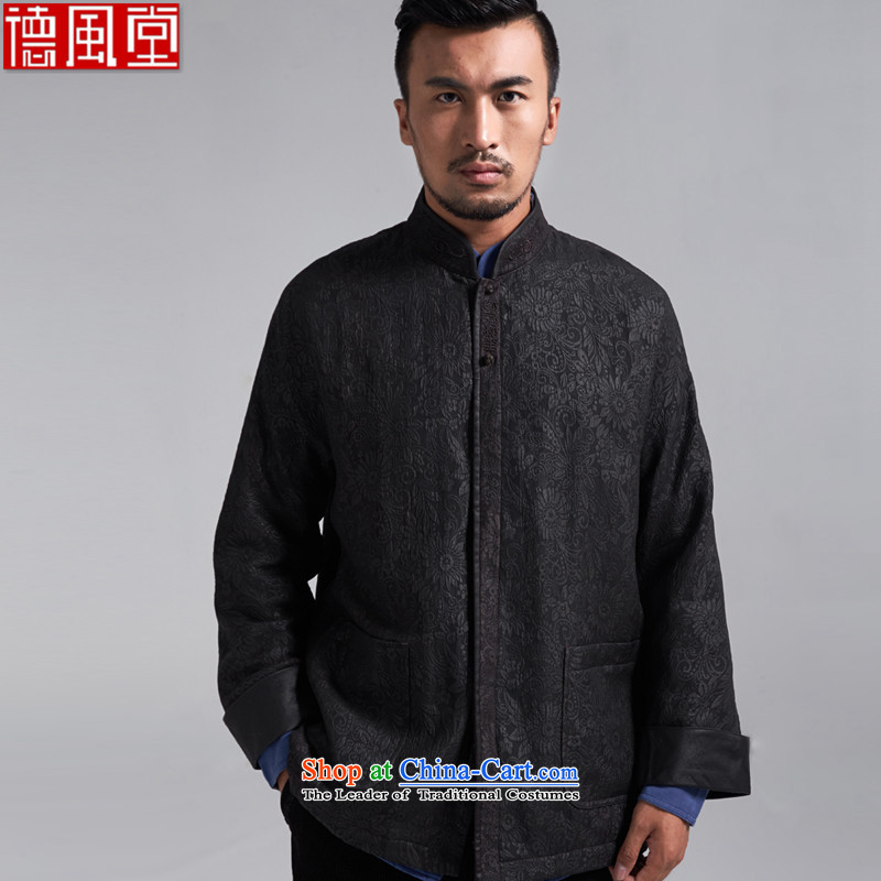 De Fudo days and herbs extract Tang dynasty male COAT 2015 autumn and winter China Wind Jacket robe father warm and elegant with black�2XL/185