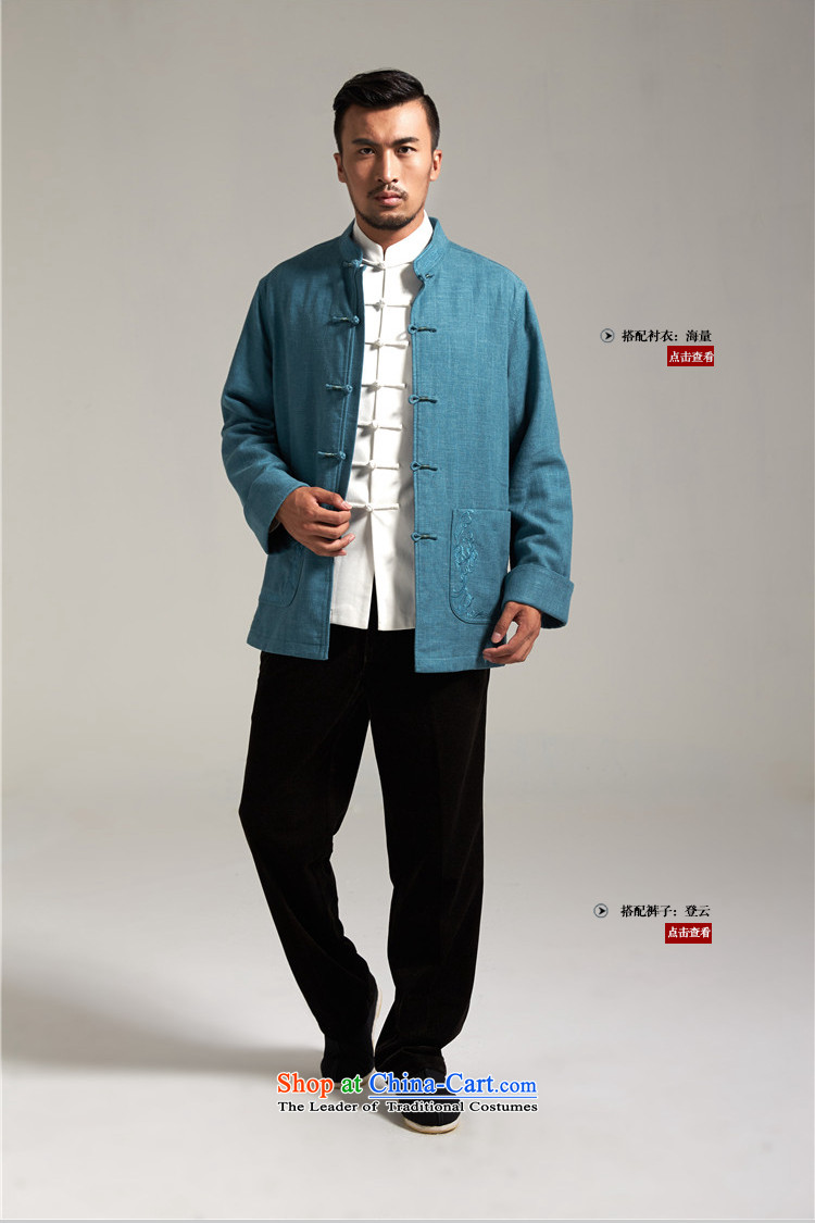 De Fudo cotton linen, Tang dynasty China wind Men's Jackets Tang Gown robe 2015 autumn and winter with the fall of the middle-aged long-sleeved father new products blue聽L picture, prices, brand platters! The elections are supplied in the national character of distribution, so action, buy now enjoy more preferential! As soon as possible.