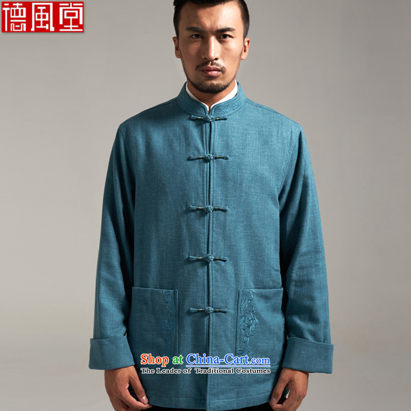 De Fudo cotton linen, Tang dynasty China wind Men's Jackets Tang Gown robe 2015 autumn and winter with the fall of the middle-aged long-sleeved father new products blue L