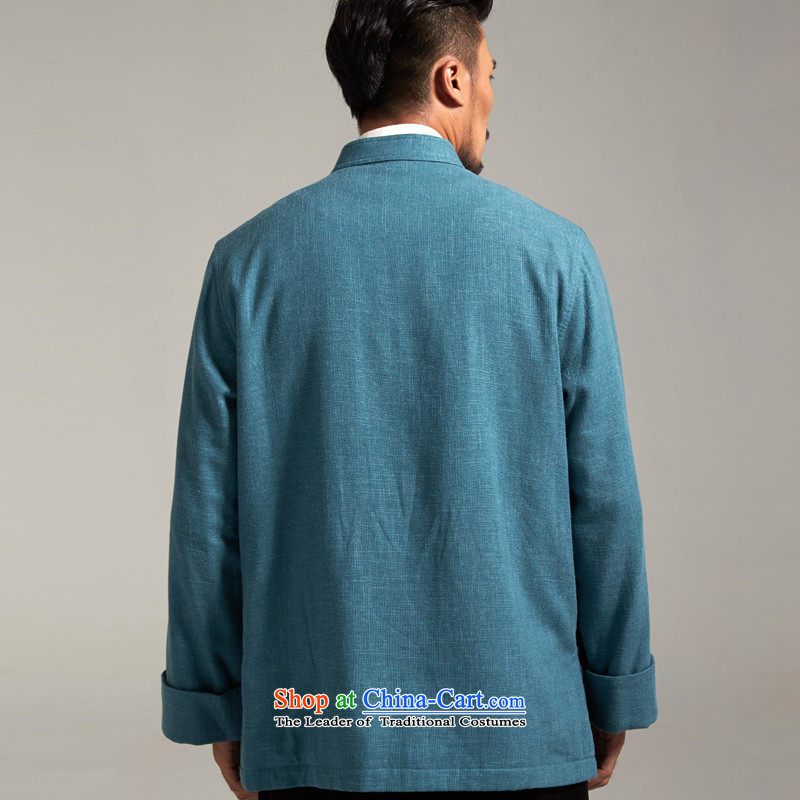 De Fudo cotton linen, Tang dynasty China wind Men's Jackets Tang Gown robe 2015 autumn and winter with the fall of the middle-aged long-sleeved father new products blue聽, L'Fudo shopping on the Internet has been pressed.