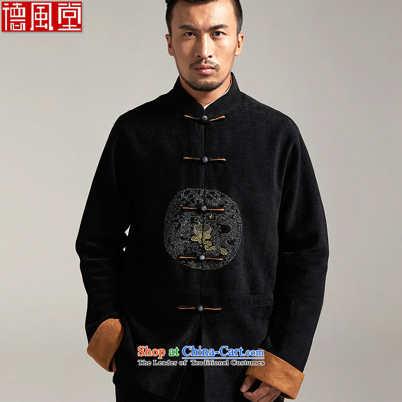 Fudo Universiade de China wind Men's Jackets Tang jackets聽2015 autumn and winter long-sleeved flip sleeve installed, father of the middle-aged   Black聽2XL