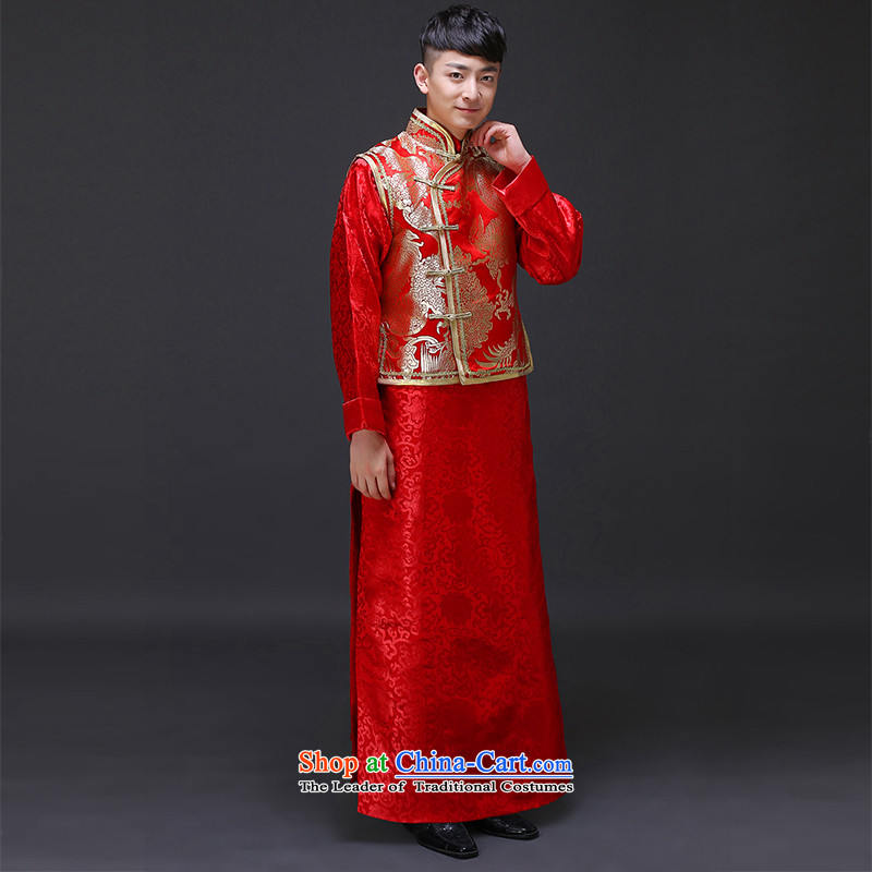The Royal Advisory Groups to show love men men ancient Chinese tunic red Tang Dynasty Chinese style wedding dress the bridegroom replacing dragon design wedding dress Sau Wo Service 298 male kit M