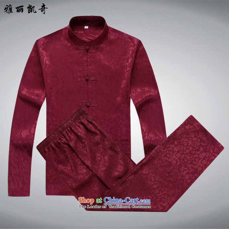 Alice Keci older men and a long-sleeved Dad Tang dynasty load tapes disc loading large number of clothes to wear summer China wind improved Mock-neck Tang dynasty -2562 red T-shirt and pants kit?S_165