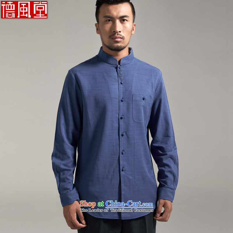 Fudo Hiu Yin de?2015 Autumn New Tencel long-sleeved China wind men forming the Tang Dynasty Chinese clothing, Netherlands youth upscale?2XL_180 Embroidery