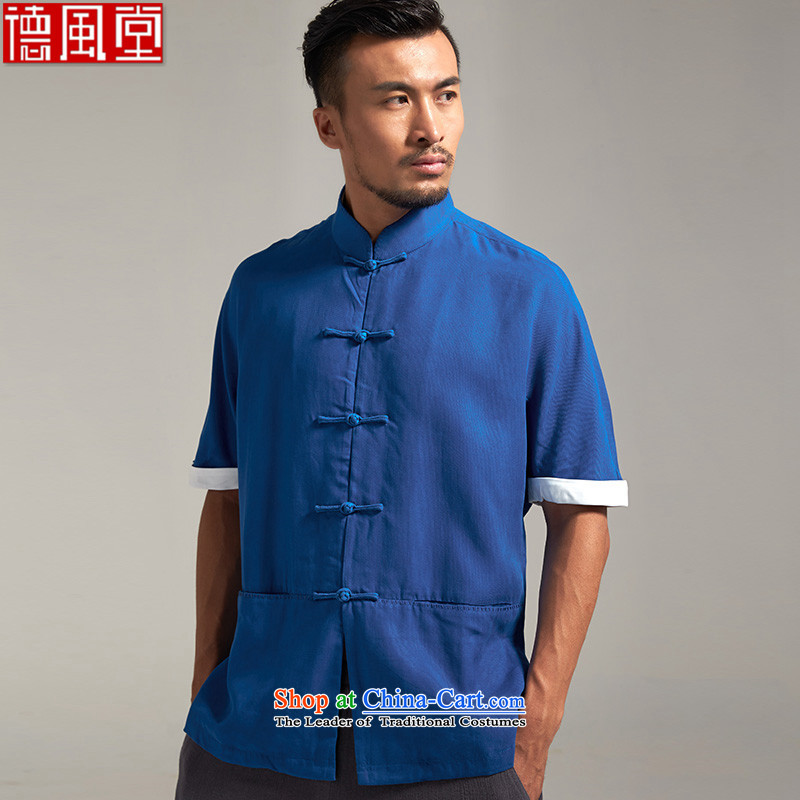 Fudo de Dumping Kwan Tencel short-sleeved Tang dynasty male and summer 2015) New Sau San China wind men Chinese clothing 3XL blue
