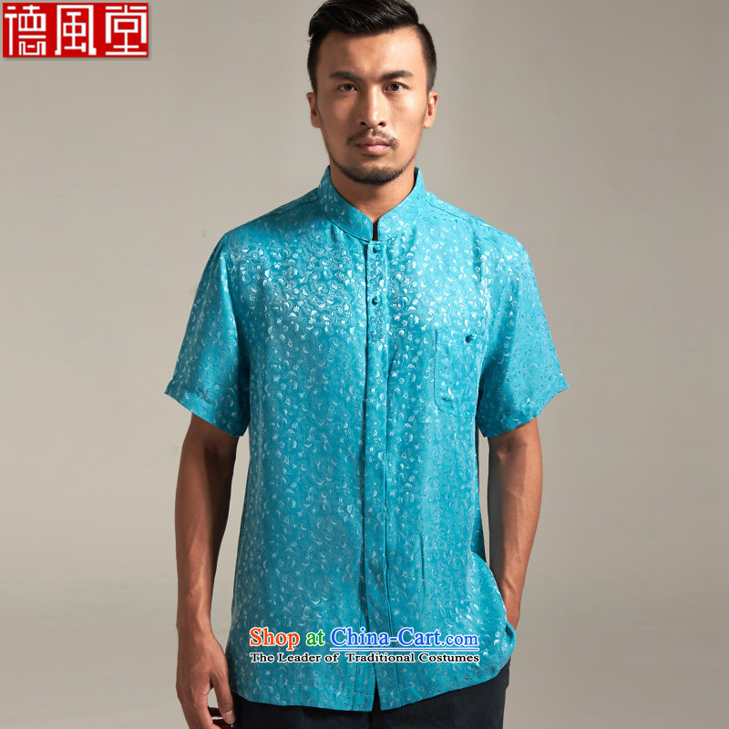 Fudo drunken marshal, short-sleeved Tang dynasty male and shirts Summer 2015 Sau San China wind men Chinese clothing lake blue?2XL