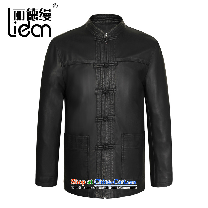 Lai Tak as spring and autumn 2015 New Chinese tunic collar Leather Men Tang dynasty China wind loading long-sleeved retro emulator father fur coat black _8089 180