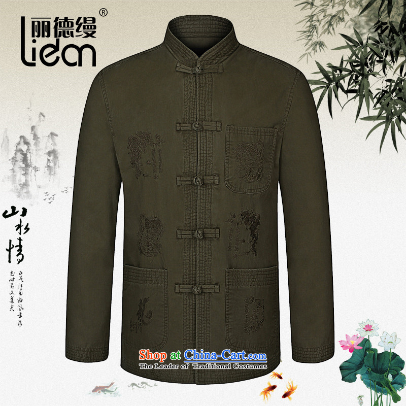 Lai Tak as follows in the Spring and Autumn period the new 2015 older men tray clip collar Tang dynasty China wind load father Han-cotton long-sleeved jacket khaki聽180