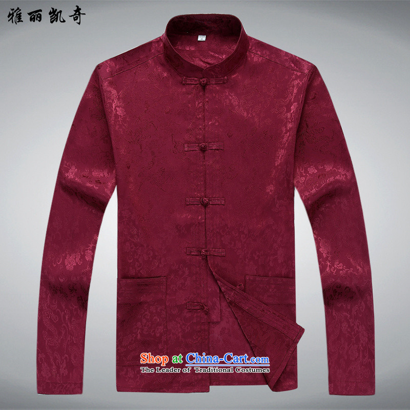 Alice Keci new long-sleeved men Tang Dynasty Package for the elderly men with elderly men's grandfather father Tang dynasty summer Mock-Neck Shirt聽XXL_185 -2562 Red 1