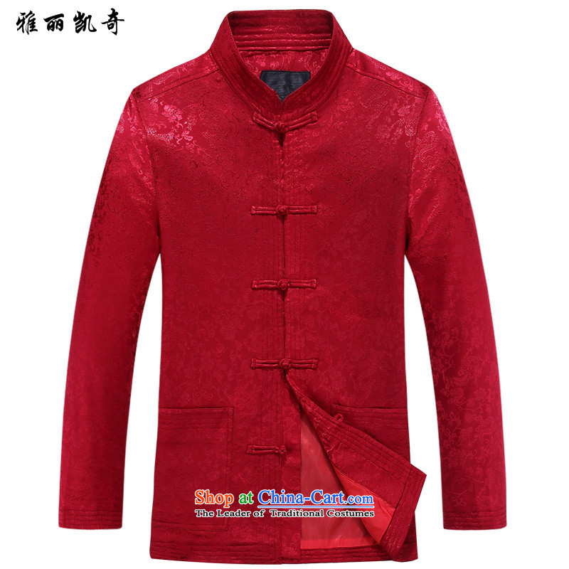 Alice Keci Tang dynasty China wind men in Tang Dynasty older Chinese long-sleeved shirt and middle-aged men jacket code Tang jackets -8802_?L_170 red T-Shirt