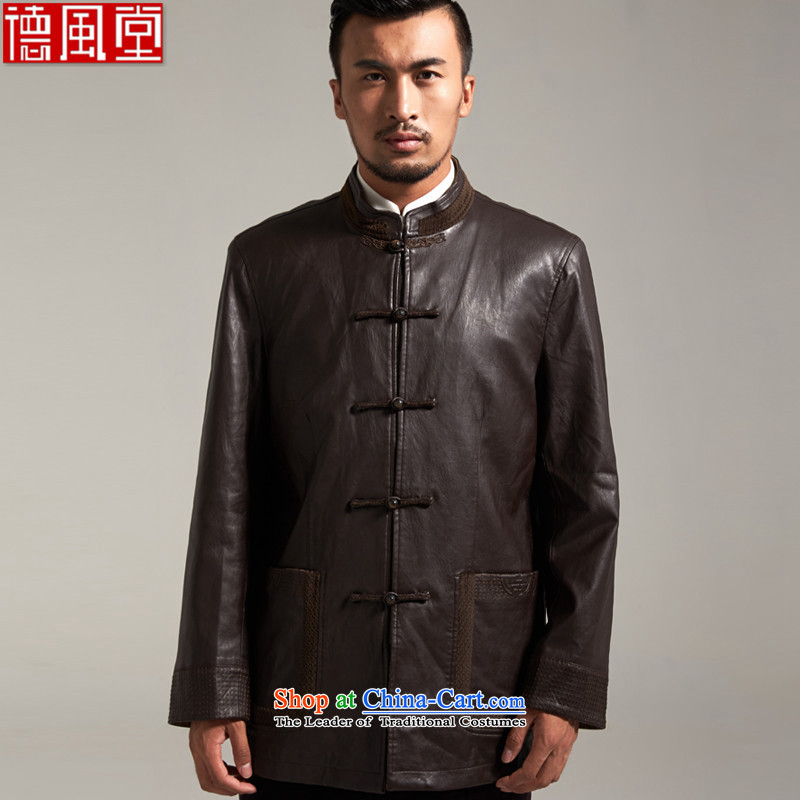 Fudo Kun Code de China wind Men's Jackets Tang dynasty 2015 autumn and winter middle-aged long-sleeved father replacing Chinese clothing聽M_165 Brown