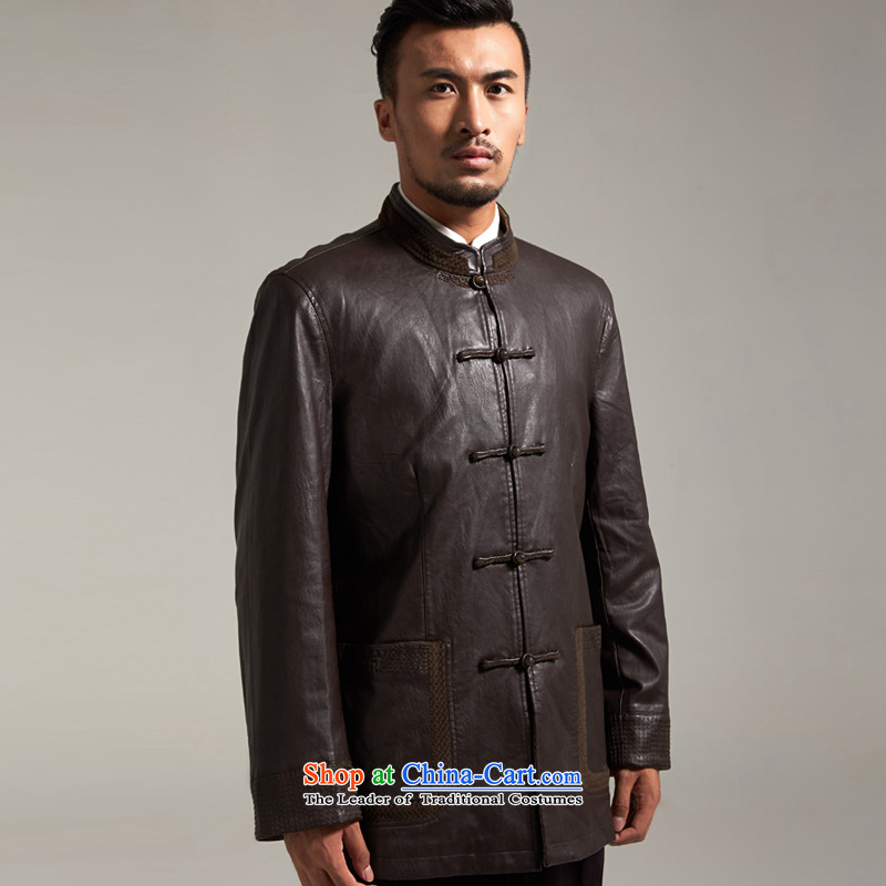 Fudo Kun Code de China wind Men's Jackets Tang dynasty 2015 autumn and winter middle-aged long-sleeved father replacing Chinese clothing brown聽M/165, de fudo shopping on the Internet has been pressed.