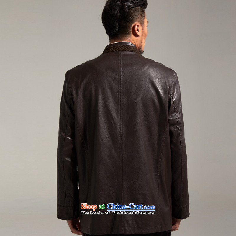 Fudo Kun Code de China wind Men's Jackets Tang dynasty 2015 autumn and winter middle-aged long-sleeved father replacing Chinese clothing brown M/165, de fudo shopping on the Internet has been pressed.