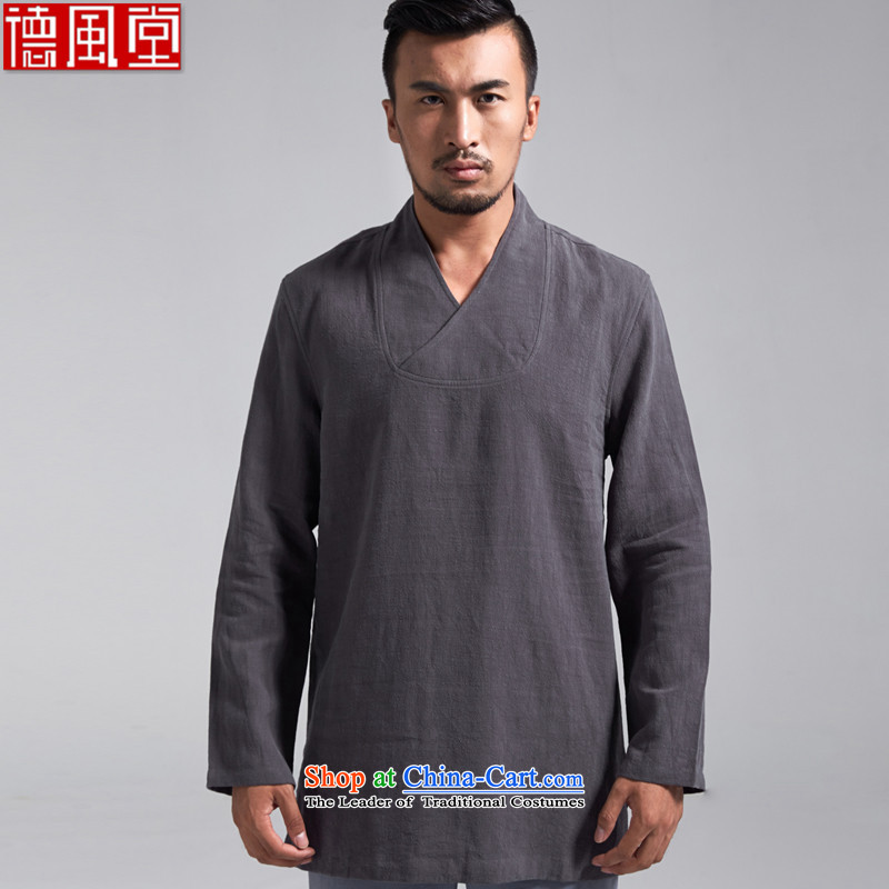 Fudo q retreat,?100_ Ma Man Tang dynasty China wind long-sleeved T-shirt?spring and autumn 2015 new products renunciates Chinese clothing in the long dark gray?M_165