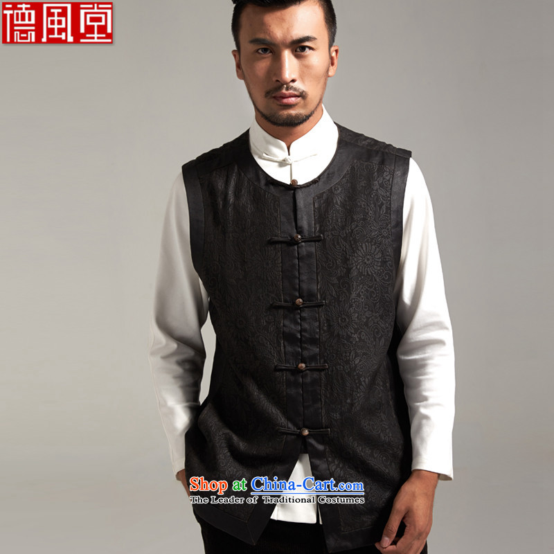 Fudo job-tak upscale incense cloud yarn, a Tang Dynasty Chinese Kampala shoulder silk vest China wind men?fall 2015 new products Chinese clothing?L_170 black