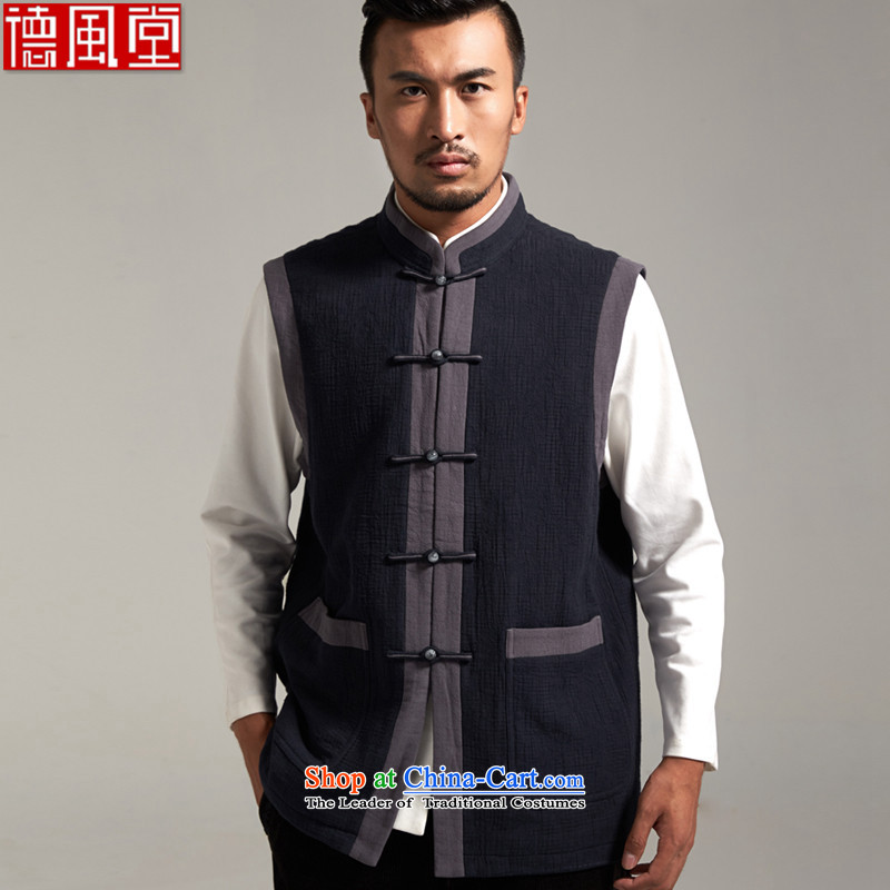 De-See Fudo?100% cotton, a Tang Dynasty Chinese Kampala shoulder China wind men?fall 2015 new products Chinese clothing Dark Blue?M