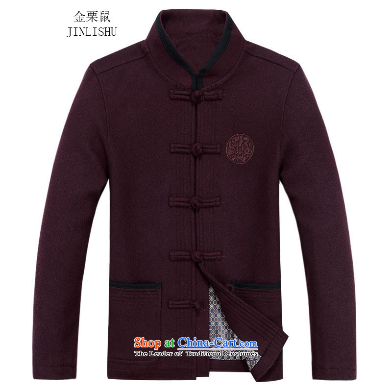 Kanaguri mouse in autumn, Tang older jacket jacket, long-sleeved shirt collar men Tang dynasty long-sleeved father replacing bourdeaux?80