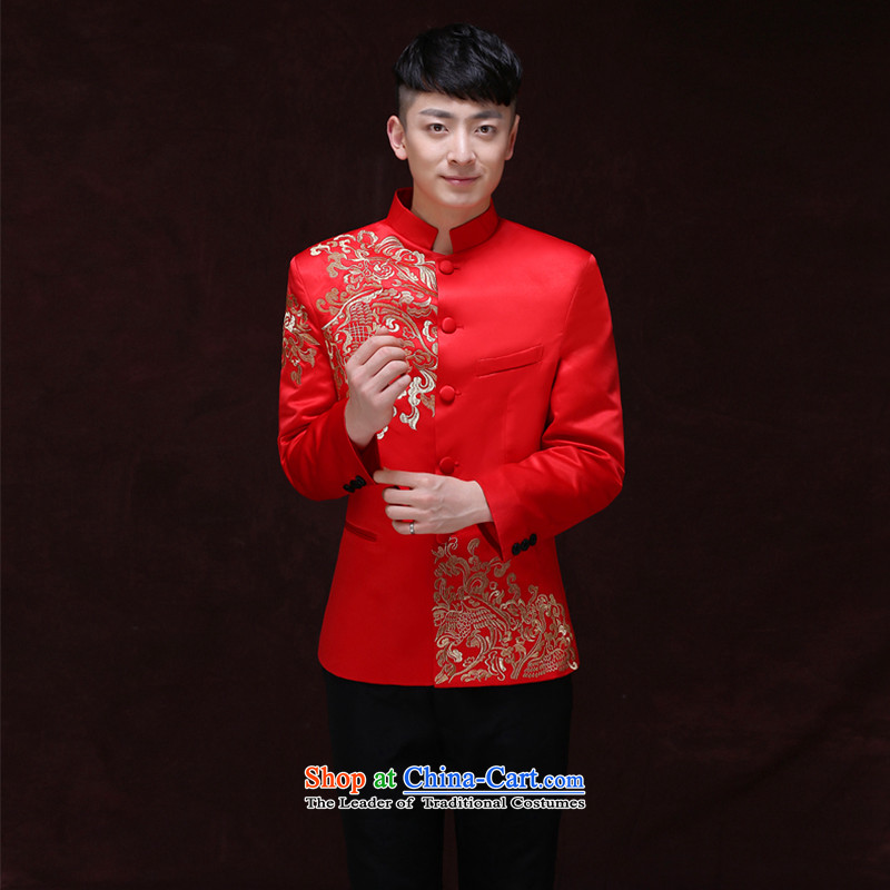 Tsai Hsin-soo wo service of men's Chinese style wedding groom long-sleeved Soo Wo service men Tang Dynasty Chinese tunic red wedding dress costume hi new piece A�L