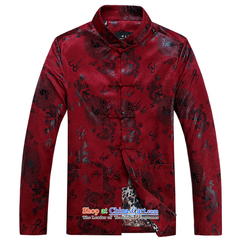 Ming Emperor Wei genuine fall and winter in Tang Dynasty older father grandfather Chinese Tang jackets retro ethnic Dragon pattern birthday feast leisure gifts Red聽175